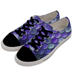 Blue Purple Mermaid Scale Men s Low Top Canvas Sneakers by snowwhitegirl