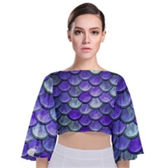 Blue Purple Mermaid Scale Tie Back Butterfly Sleeve Chiffon Top