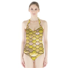 Yellow  Mermaid Scale Halter Swimsuit