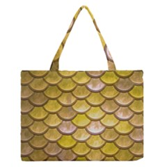 Yellow  Mermaid Scale Zipper Medium Tote Bag by snowwhitegirl