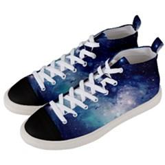 Nebula Blue Men s Mid Top Canvas Sneakers by snowwhitegirl
