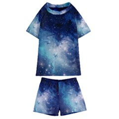 Nebula Blue Kids  Swim Tee And Shorts Set by snowwhitegirl