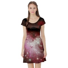 Nebula Red Short Sleeve Skater Dress
