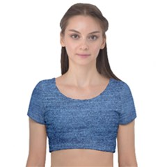 Blue Denim Velvet Short Sleeve Crop Top