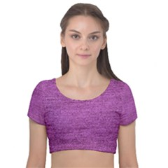 Purple Denim Velvet Short Sleeve Crop Top  by snowwhitegirl