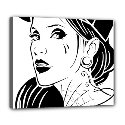Woman Wth Hat 720 Deluxe Canvas 24  X 20   by snowwhitegirl