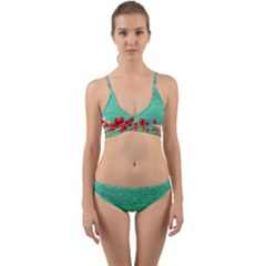 Green Denim Flowers Wrap Around Bikini Set by snowwhitegirl