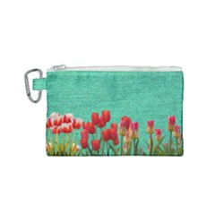 Green Denim Flowers Canvas Cosmetic Bag (small)