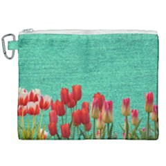 Green Denim Flowers Canvas Cosmetic Bag (xxl) by snowwhitegirl