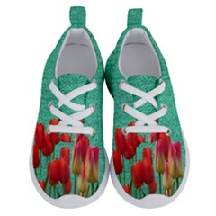 Green Denim Flowers Running Shoes