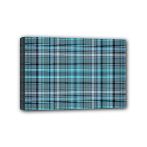 Teal Plaid Mini Canvas 6  X 4  by snowwhitegirl