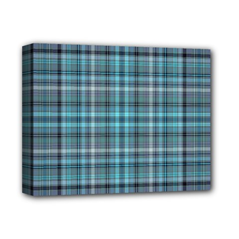 Teal Plaid Deluxe Canvas 14  X 11  by snowwhitegirl