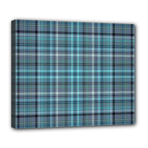 Teal Plaid Deluxe Canvas 24  X 20   by snowwhitegirl