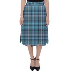 Teal Plaid Folding Skater Skirt by snowwhitegirl
