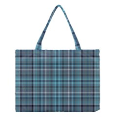 Teal Plaid Medium Tote Bag by snowwhitegirl