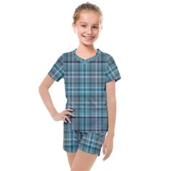 Teal Plaid Kids  Mesh Tee And Shorts Set by snowwhitegirl