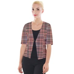 Peach  Plaid Cropped Button Cardigan by snowwhitegirl