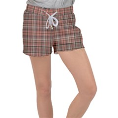 Peach  Plaid Women s Velour Lounge Shorts