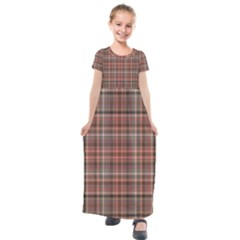 Peach  Plaid Kids  Short Sleeve Maxi Dress