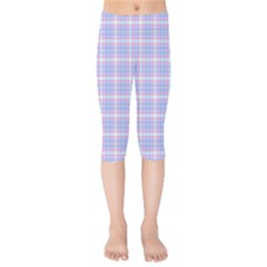 Pink Blue Plaid Kids  Capri Leggings