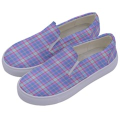 Pink Blue Plaid Kids  Canvas Slip Ons by snowwhitegirl