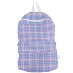 Pink Blue Plaid Foldable Lightweight Backpack