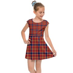 Red Yellow Plaid Kids Cap Sleeve Dress by snowwhitegirl