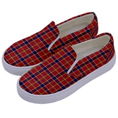 Red Yellow Plaid Kids  Canvas Slip Ons by snowwhitegirl