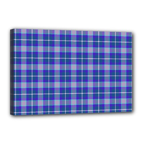 Blue Teal Plaid Canvas 18  X 12  by snowwhitegirl