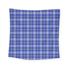 Blue Teal Plaid Square Tapestry (small) by snowwhitegirl
