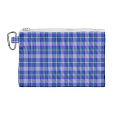 Blue Teal Plaid Canvas Cosmetic Bag (large) by snowwhitegirl