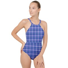 Blue Teal Plaid High Neck One Piece Swimsuit