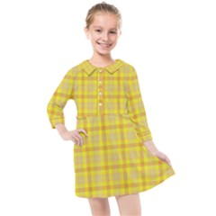 Yellow Sun Plaid Kids  Quarter Sleeve Shirt Dress by snowwhitegirl