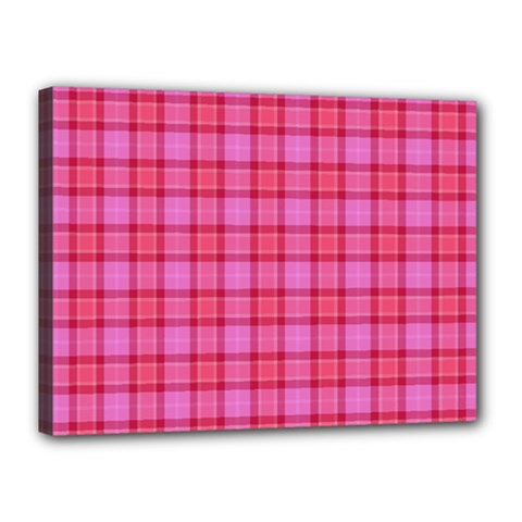 Valentine Pink Red Plaid Canvas 16  X 12  by snowwhitegirl