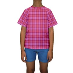 Valentine Pink Red Plaid Kids  Short Sleeve Swimwear by snowwhitegirl