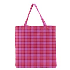 Valentine Pink Red Plaid Grocery Tote Bag by snowwhitegirl