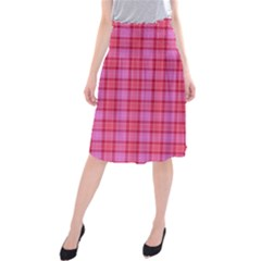 Valentine Pink Red Plaid Midi Beach Skirt by snowwhitegirl