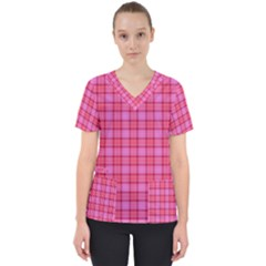 Valentine Pink Red Plaid Scrub Top