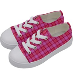 Valentine Pink Red Plaid Kids  Low Top Canvas Sneakers by snowwhitegirl