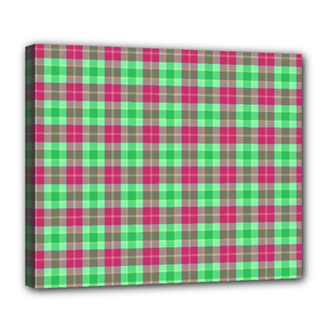 Pink Green Plaid Deluxe Canvas 24  X 20