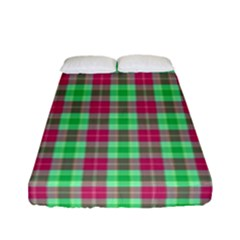 Pink Green Plaid Fitted Sheet (full/ Double Size)