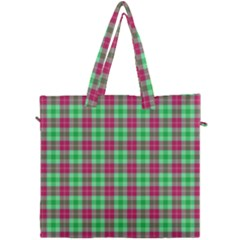 Pink Green Plaid Canvas Travel Bag by snowwhitegirl
