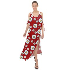 Eggs Red Maxi Chiffon Cover Up Dress
