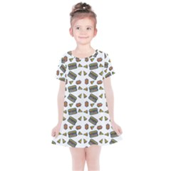 Fast Food White Kids  Simple Cotton Dress