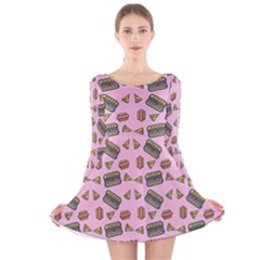Fast Food Pink Long Sleeve Velvet Skater Dress