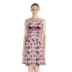 Fast Food Pink Sleeveless Waist Tie Chiffon Dress