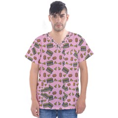 Fast Food Pink Men s V Neck Scrub Top