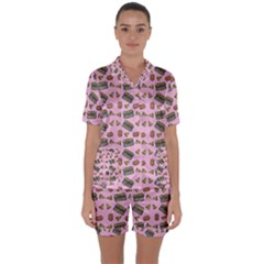 Fast Food Pink Satin Short Sleeve Pyjamas Set