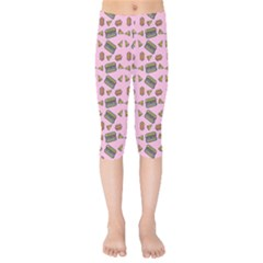 Fast Food Pink Kids  Capri Leggings