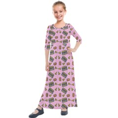 Fast Food Pink Kids  Quarter Sleeve Maxi Dress